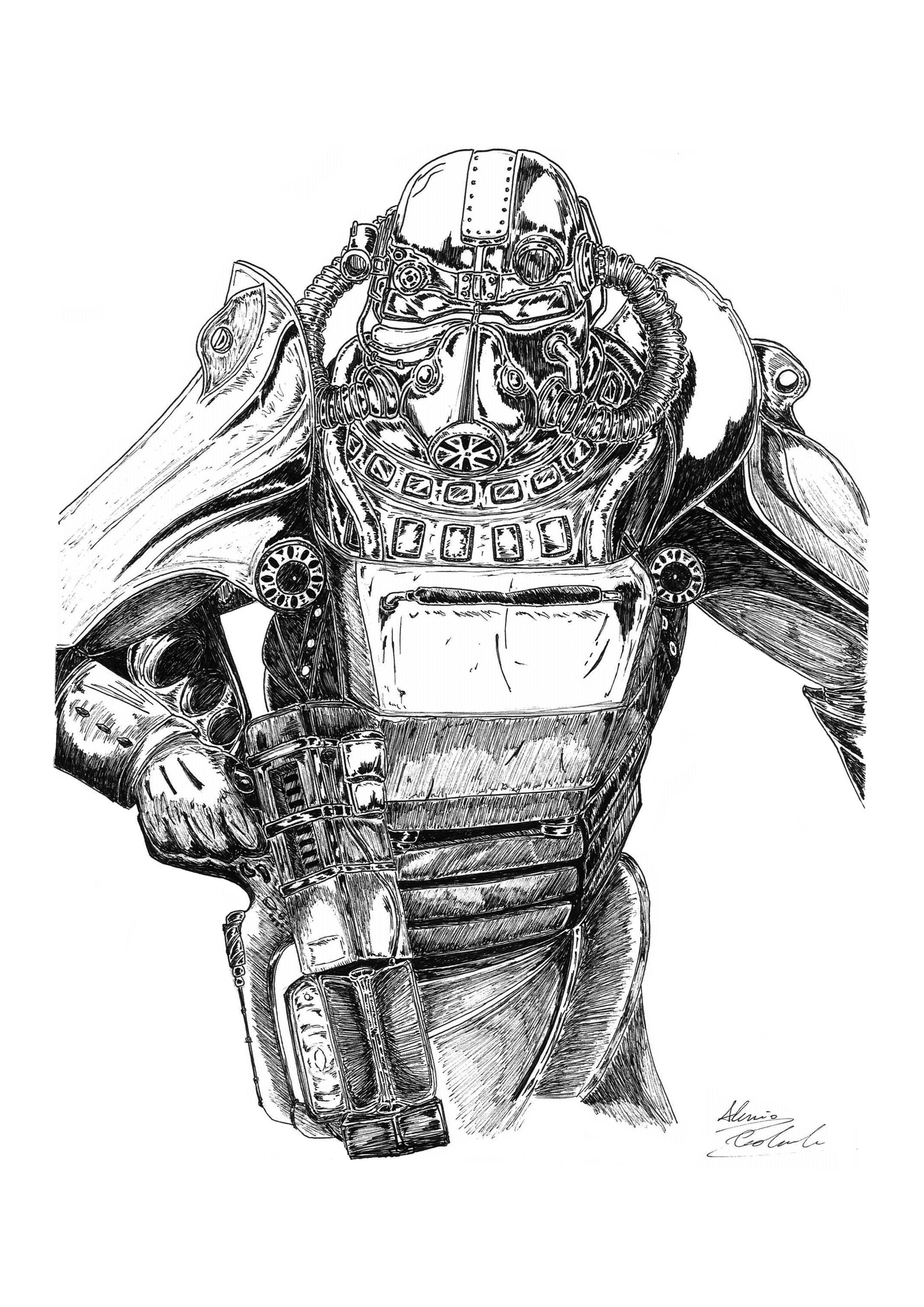 alessio colabianchi fallout 3 concept art ink on paper illustration
