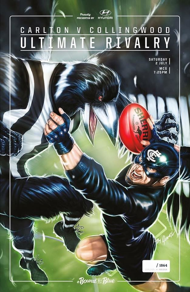 Game Day Poster for Carlton Blues vs Collingwood Magpies