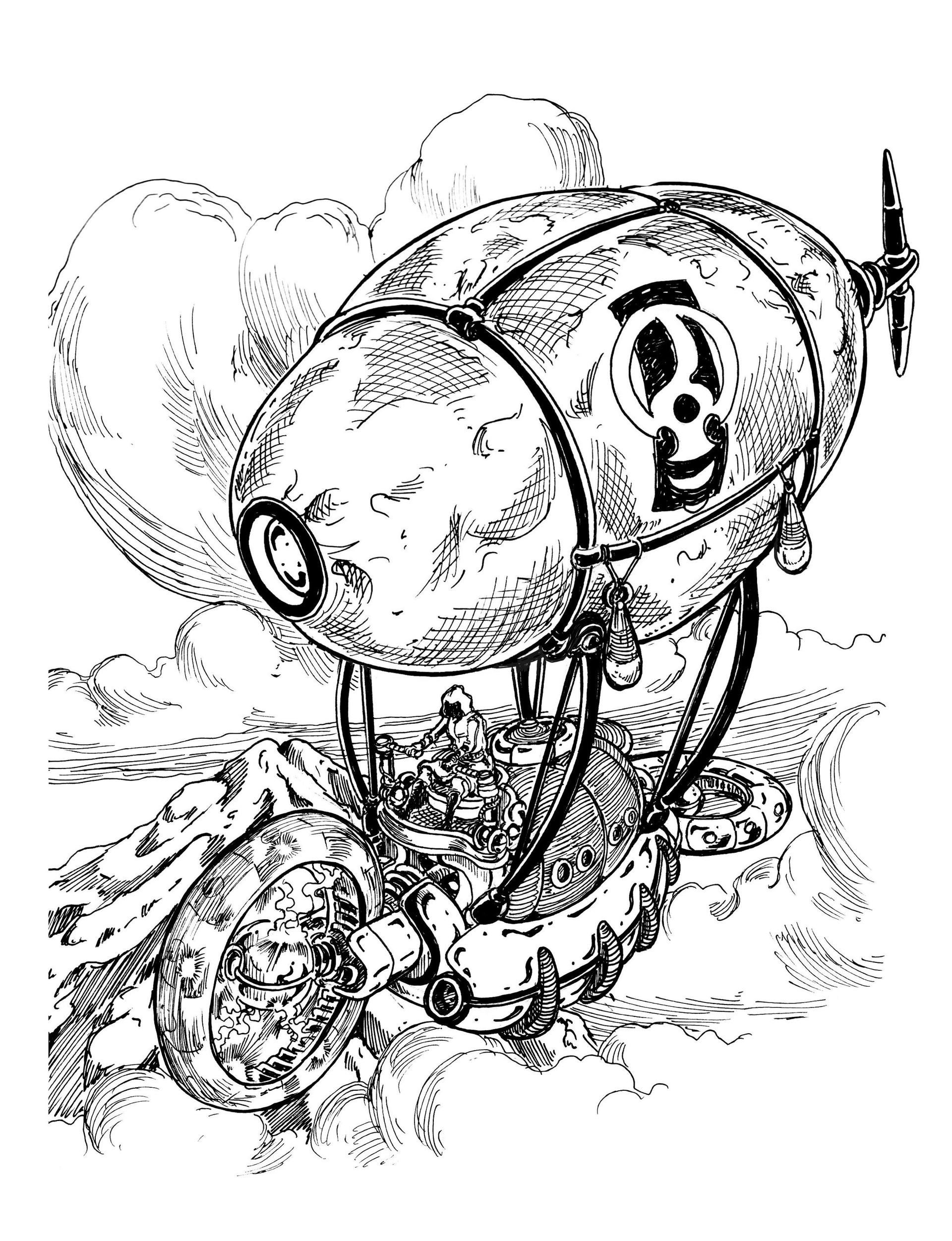 Vincent bryant inktober 13 magnetic sphere ship
