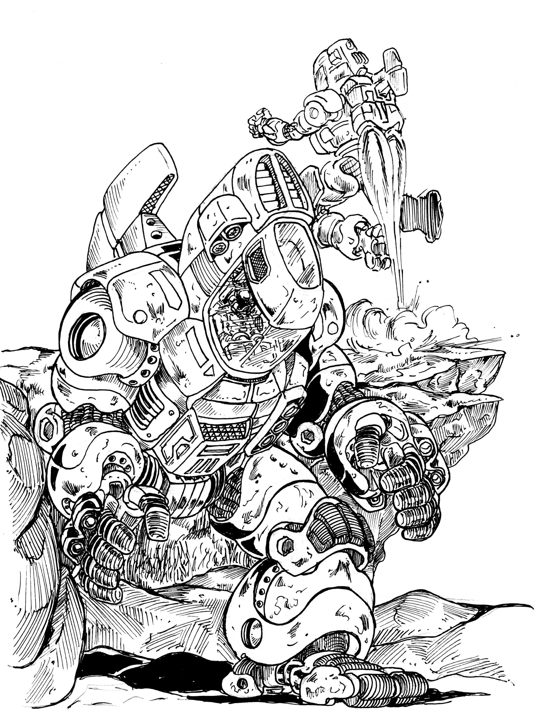 Vincent bryant inktober 16 heavy metal mech