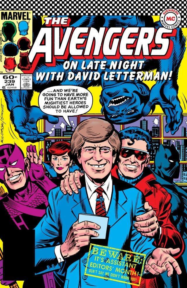 Original inspiration: Al Milgrom and Joe Sinnott's Letterman/Avengers cover from 1984.