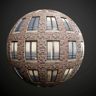 Brick Appartment Building Seamless PBR Texture