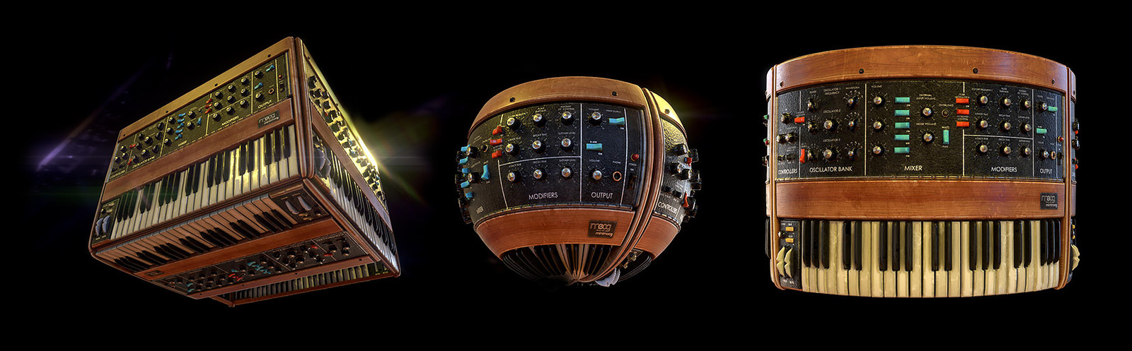 minimoog material on  cube, sphere and cylinder meshes