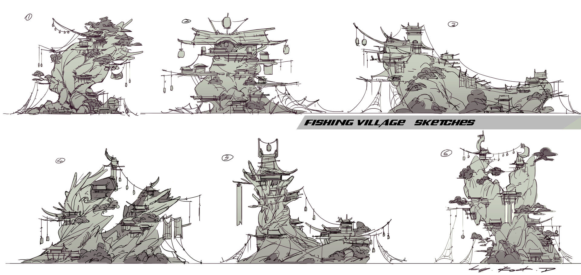 Rock d finshing village sketches