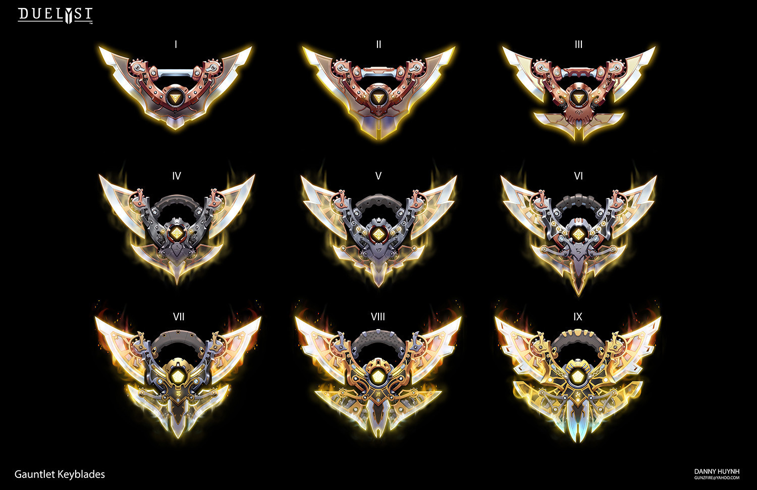 Keyblades represent 9 rank levels a player can achieve in Gauntlet.