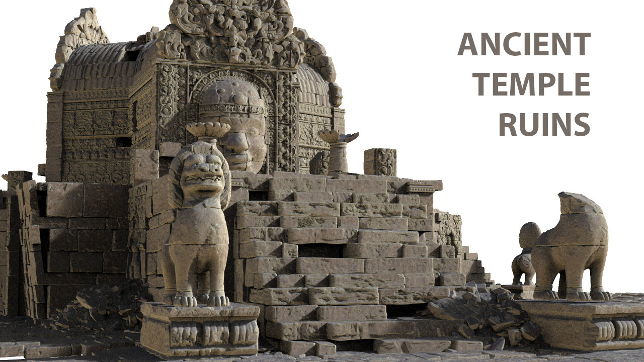 Assembly of high poly assets. Based on Angkor Wat reference pack - https://www.fotoref.com/products/angkor-temple