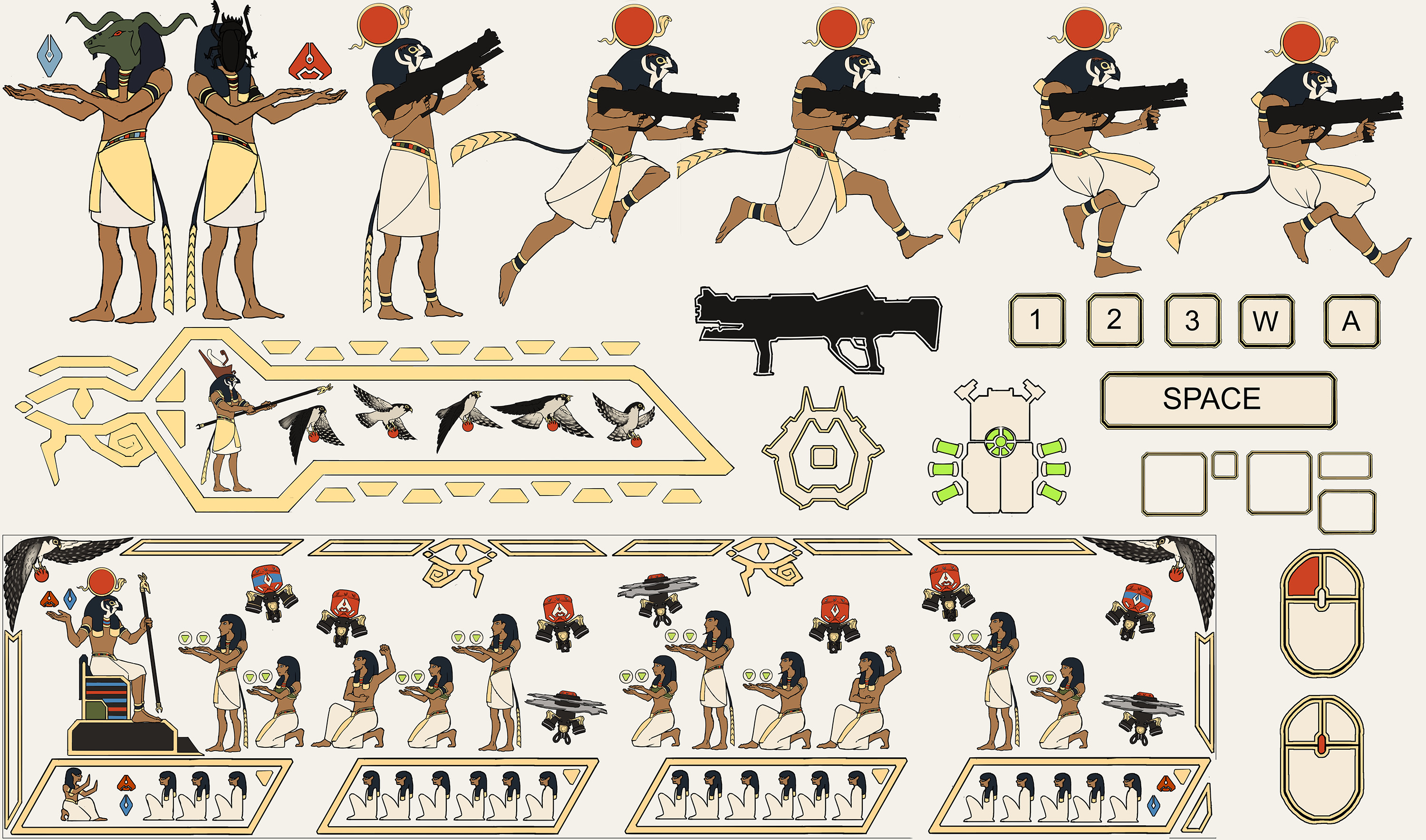 I was in charge of creating all the 2D assets for the game. My task here where to create not only 2D assets that resembled Egyptian wall paintings, but also create assets for the tutorial level.