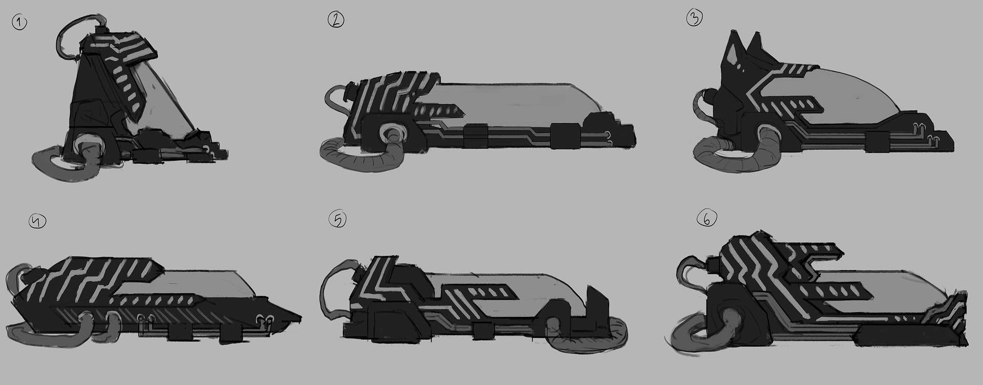 "Thumbnails. My task here was to keep a fairly similar silhouette but still explore different aesthetic approaches. The deisgn needed to easily read as a lifepod/sarcophagus for when the player respawn to feel like they ""wake up"" from it."