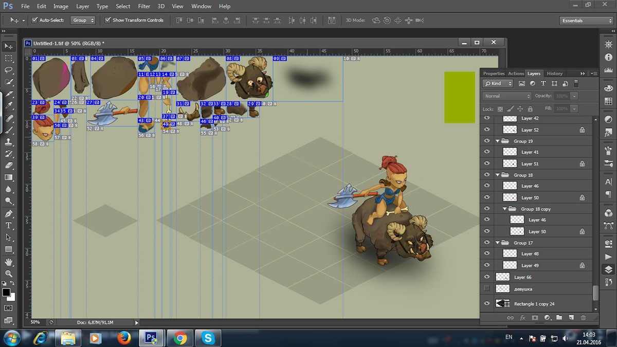 Development and animation of the game character