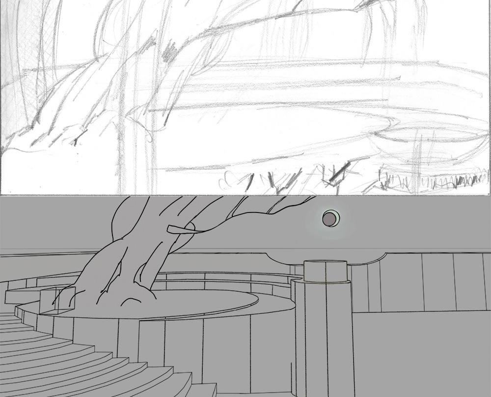 I quickly moved from sketchbook thumbnails to SketchUp once I committed to this idea of an elevated terrace around an old tree.