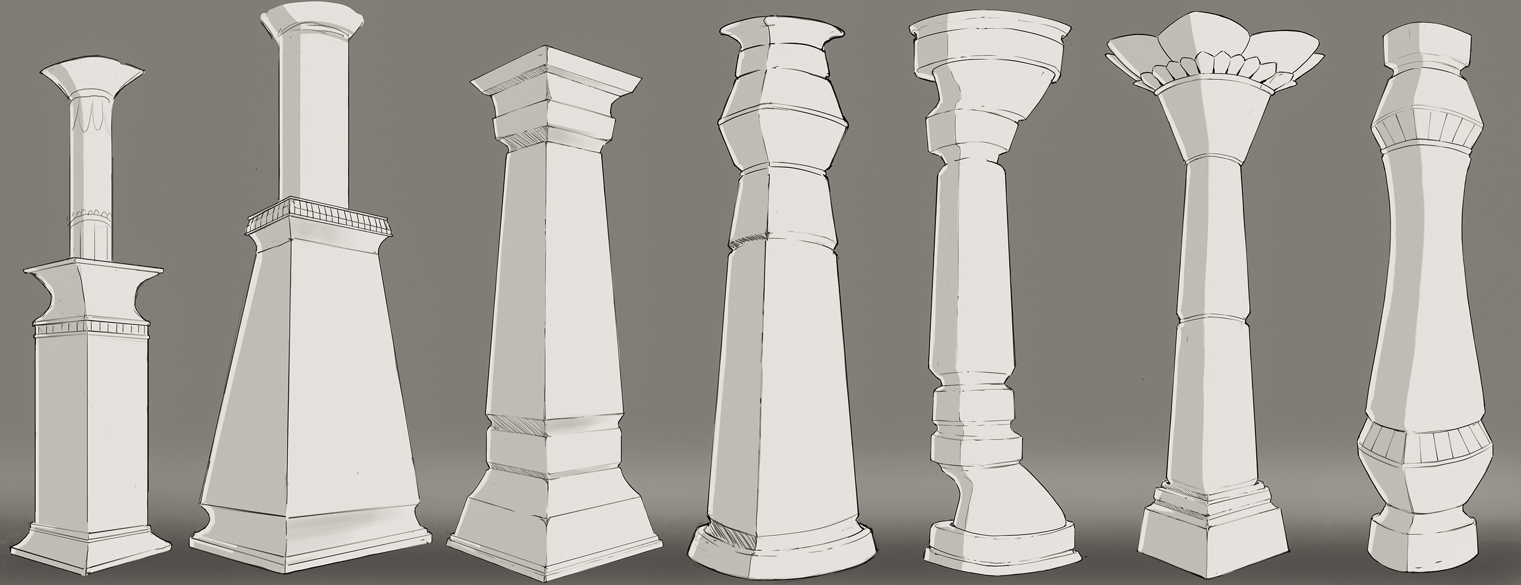 Pillar concepts. We knew early on in development that the level design would be both horizontal and vertical, and that pillars would be a great modular asset for it. My task was to explore some different shapes and aesthetics for the pillars.