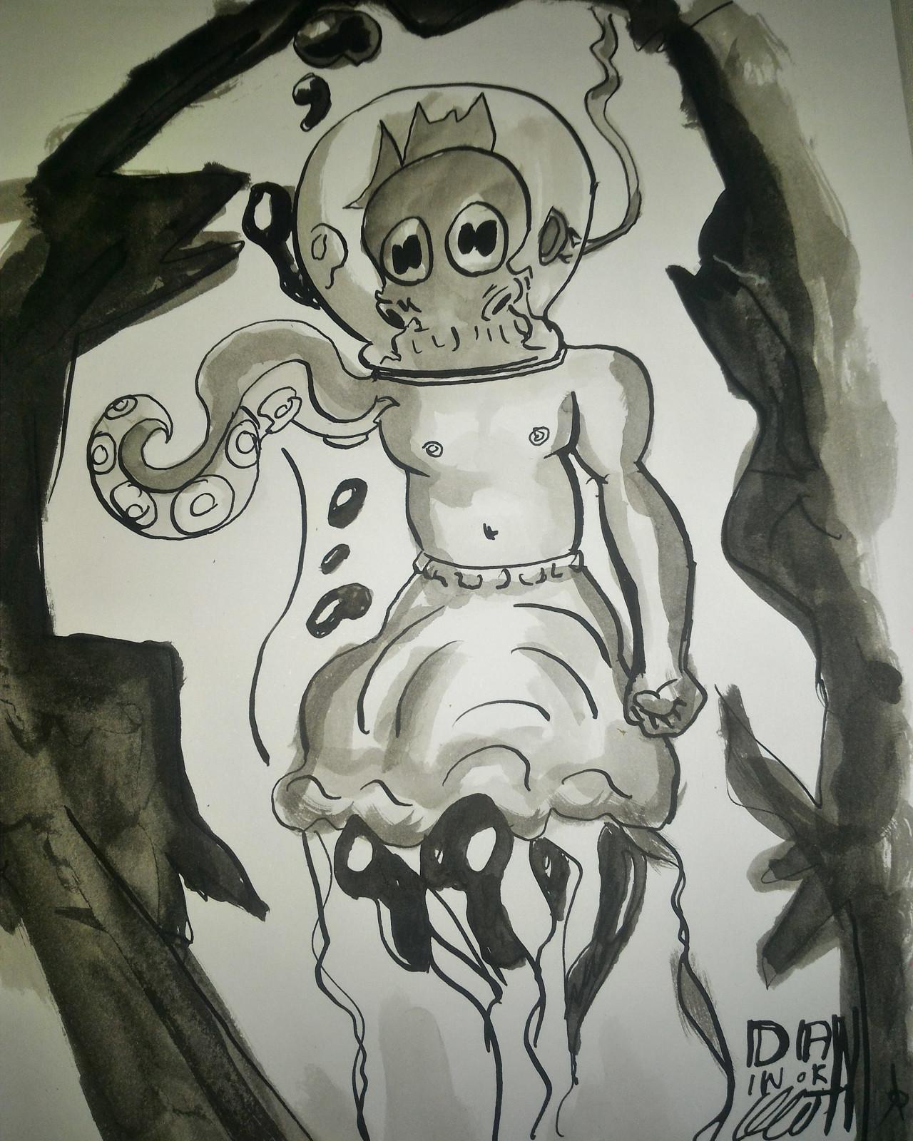 Criatura do fundo do mar - Nanquim