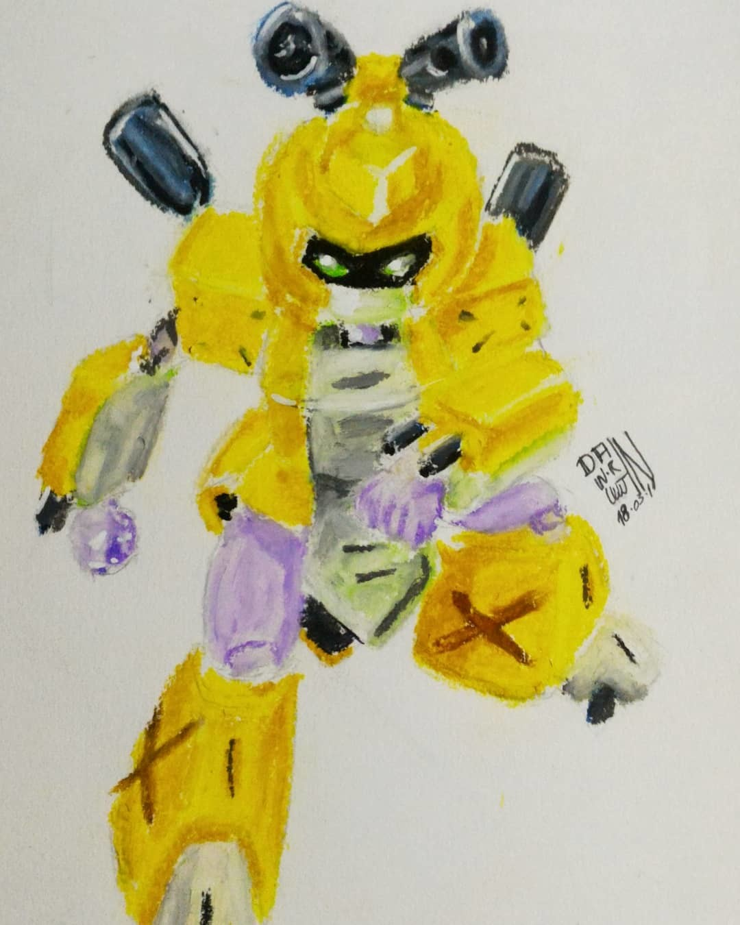 March Of Robots 11 - Metabee - Medabots.. Oil pastels.