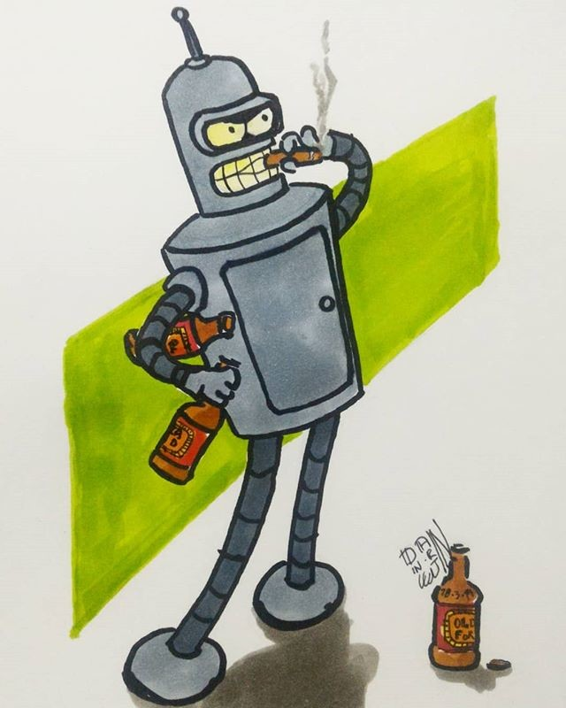 March Of Robots 14 -Bender Bending Rodríguez - Futurama. MArkers.