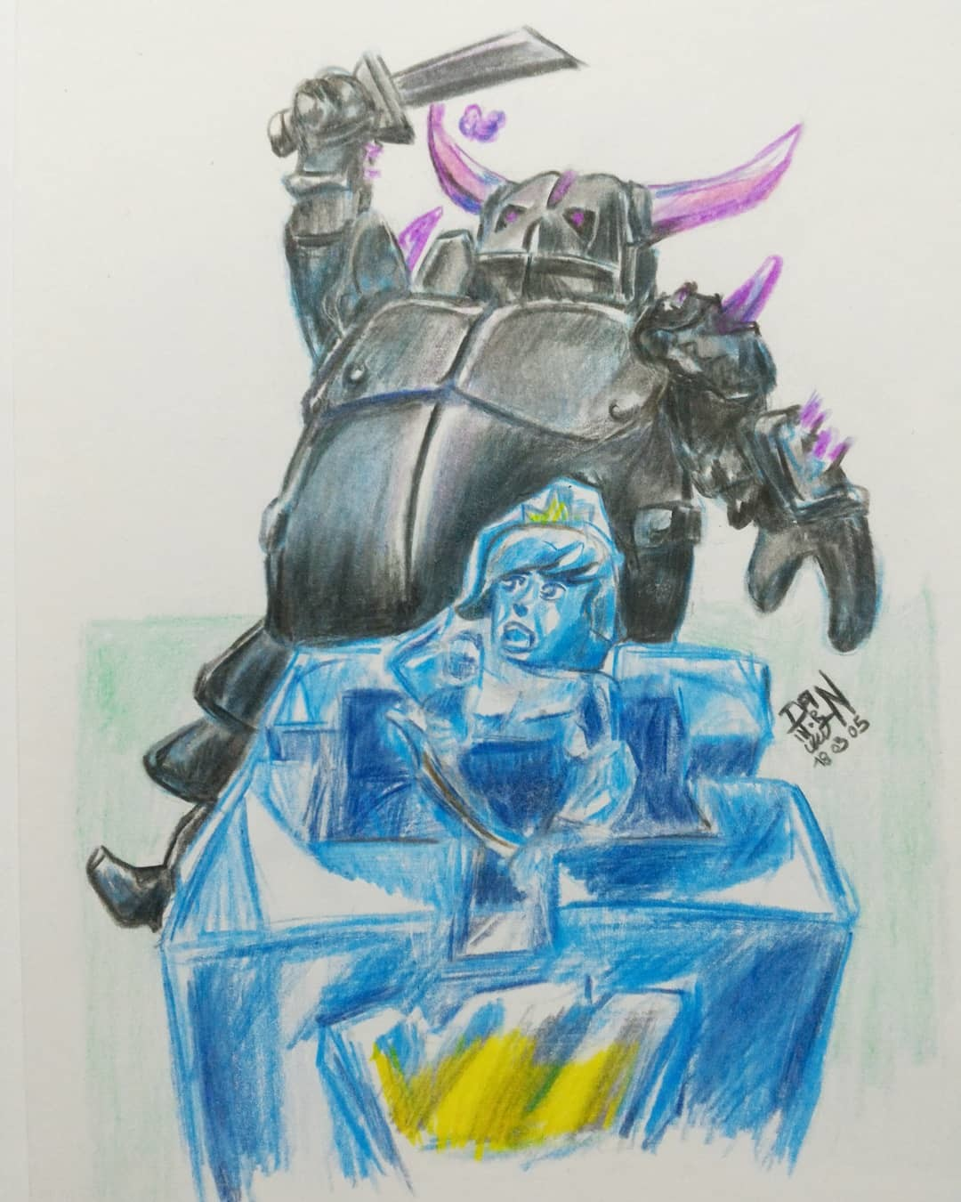 March Of Robots 05 - Pekka, princess - Clash Royale. Colored Pencil
