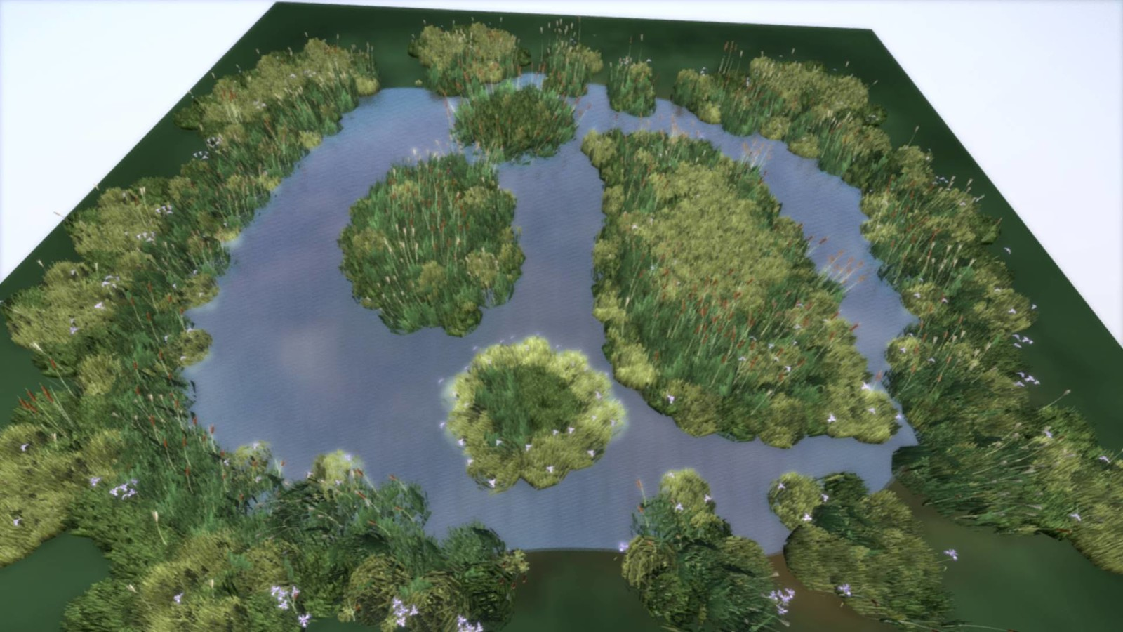 I created a little test-lake with reeds on the shore to see how it looks and to find the right polycount.