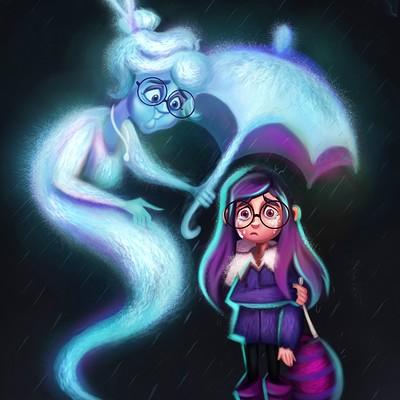 Niniel illustrator falling rain low 1