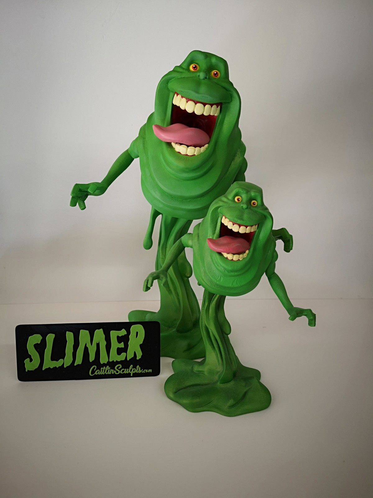"""Larger 15"""" Slimer made for the Toy Think Tank Artshow. Currently onsale if you want to buy him -  http://toythinktank.co.uk/product/slimer-by-caitlin-sculpts/"""
