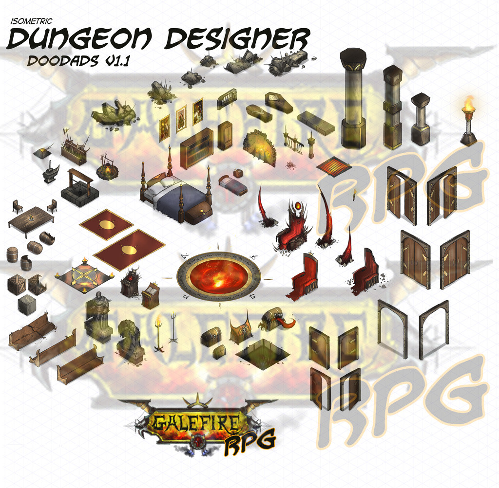 isometric dungeon doodads
