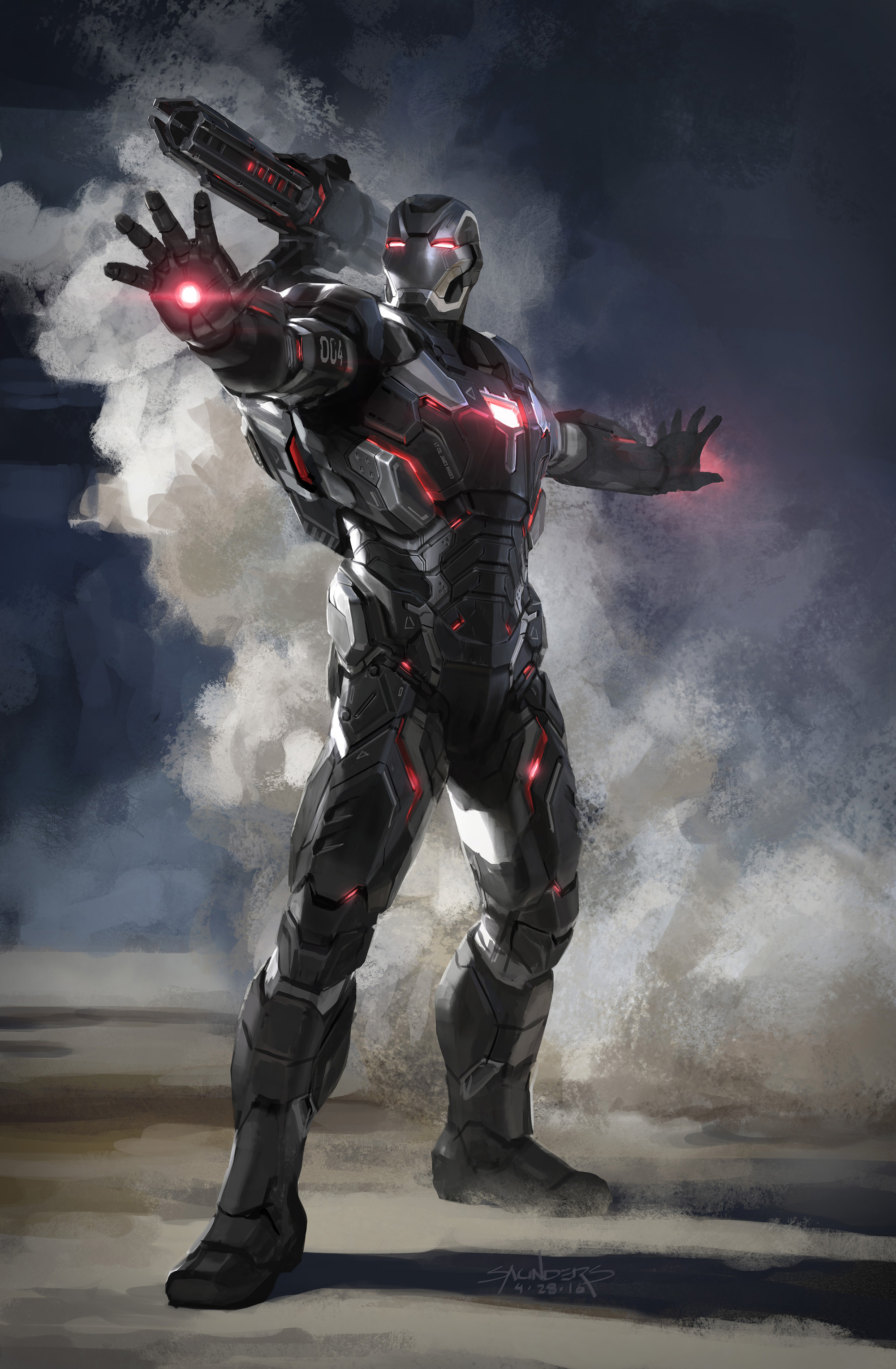 Original concept sketch for the Mk IV War Machine suit. Was trying to go for a more advanced, faceted look to contrast with the extreme organic look of IM Mk50.