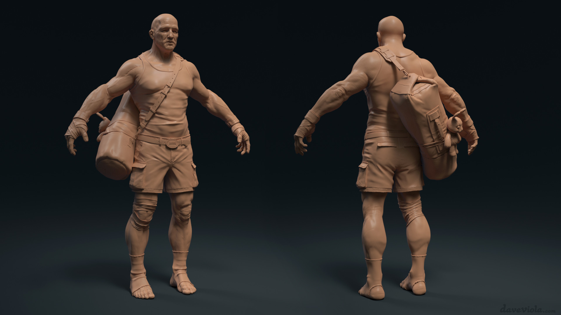 Dave viola fighter sculpt clothes render