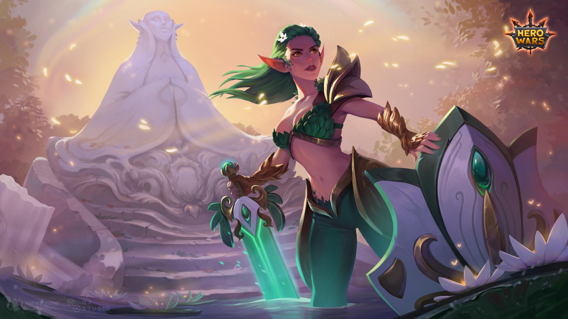 ekat art - Aurora (Spring Skin) Splash Art for Hero Wars