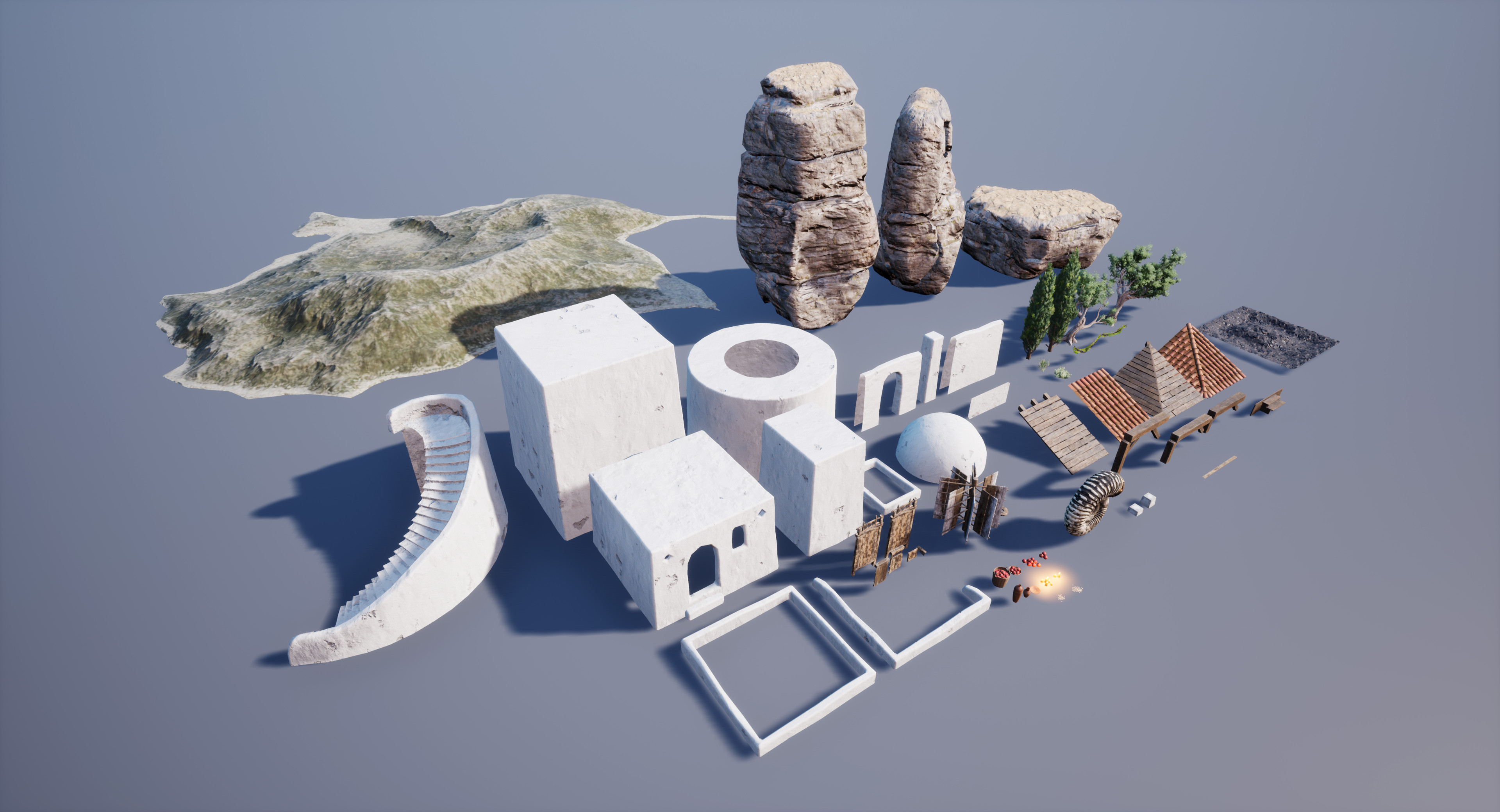 Most of the assets used the build the environment.