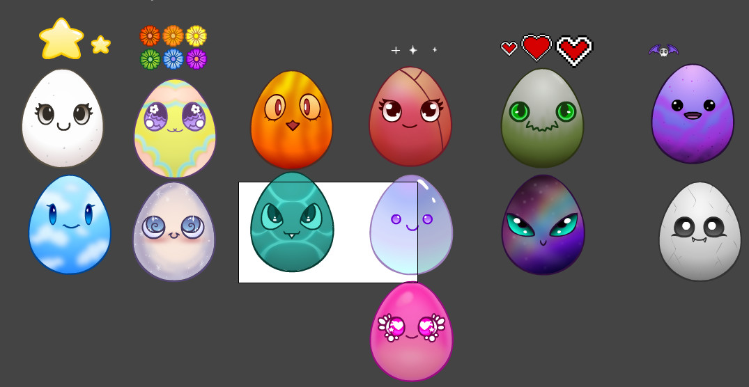 Here are some of the first egg types. Each one has different facial expressions!