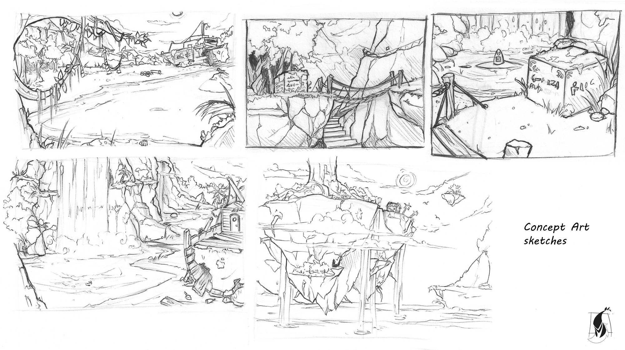 Sketches for environment concept art