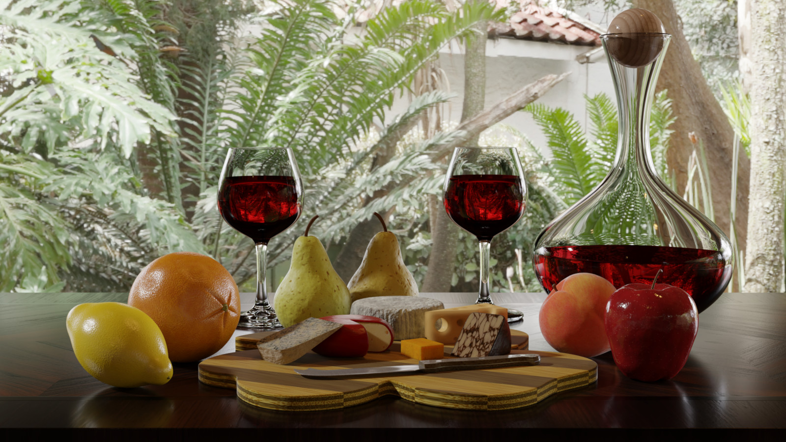 Still life fruit, cheese, and wine scene. Modeled in Blender with HDRI lighting.