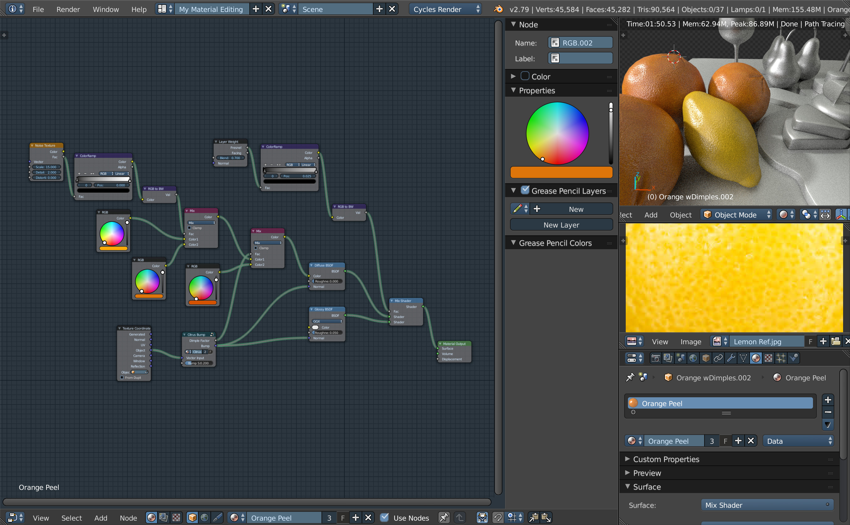 Blender Cycles node setup for citrus procedural textures.
