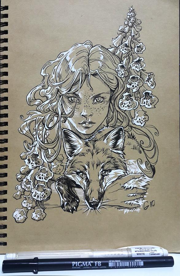 ArtStation - Inktober 2018 - Red Fox Girl, Gio Guimaraes
