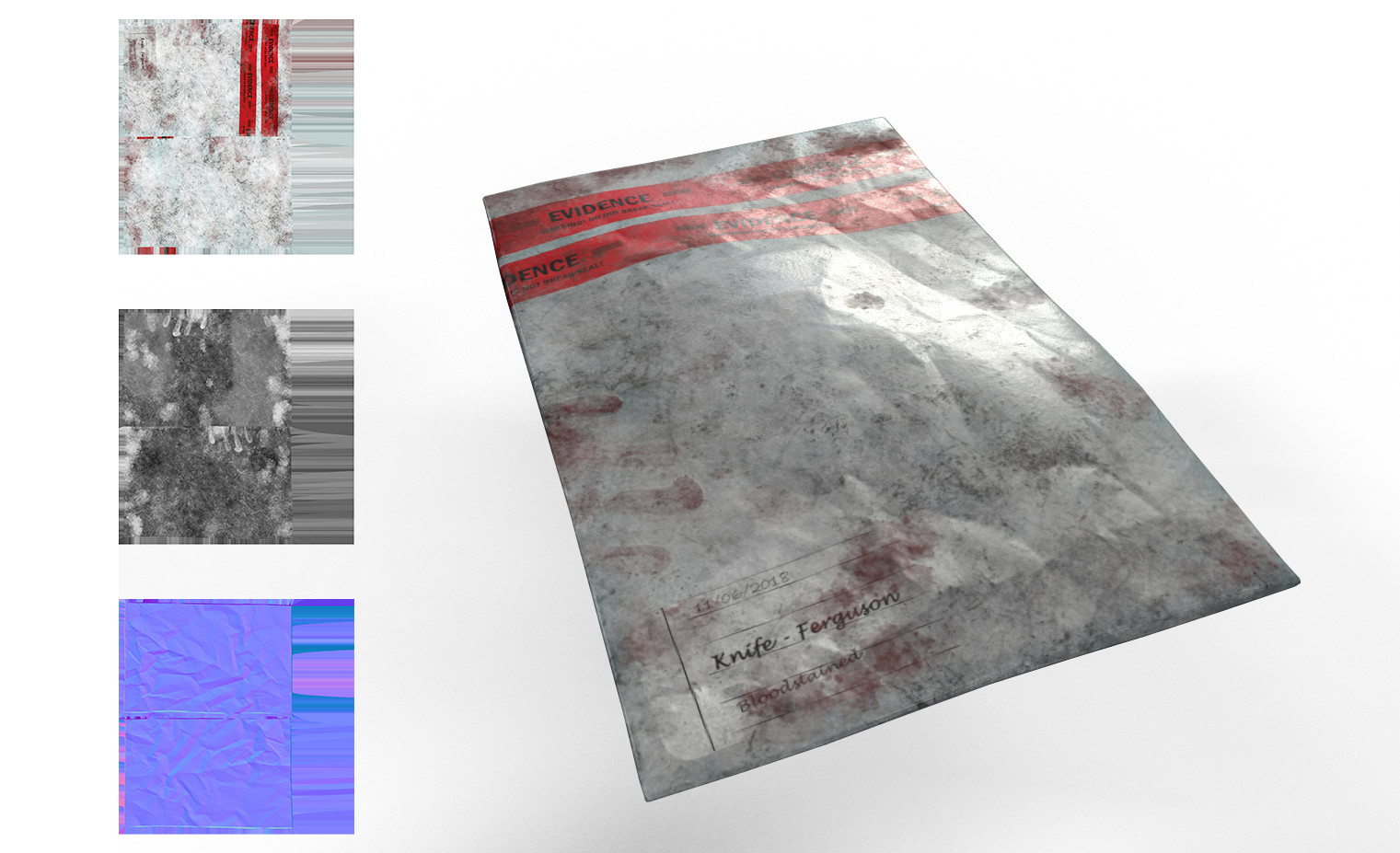 Tampered evidence bag textured in Substance Painter with Unity texture maps.