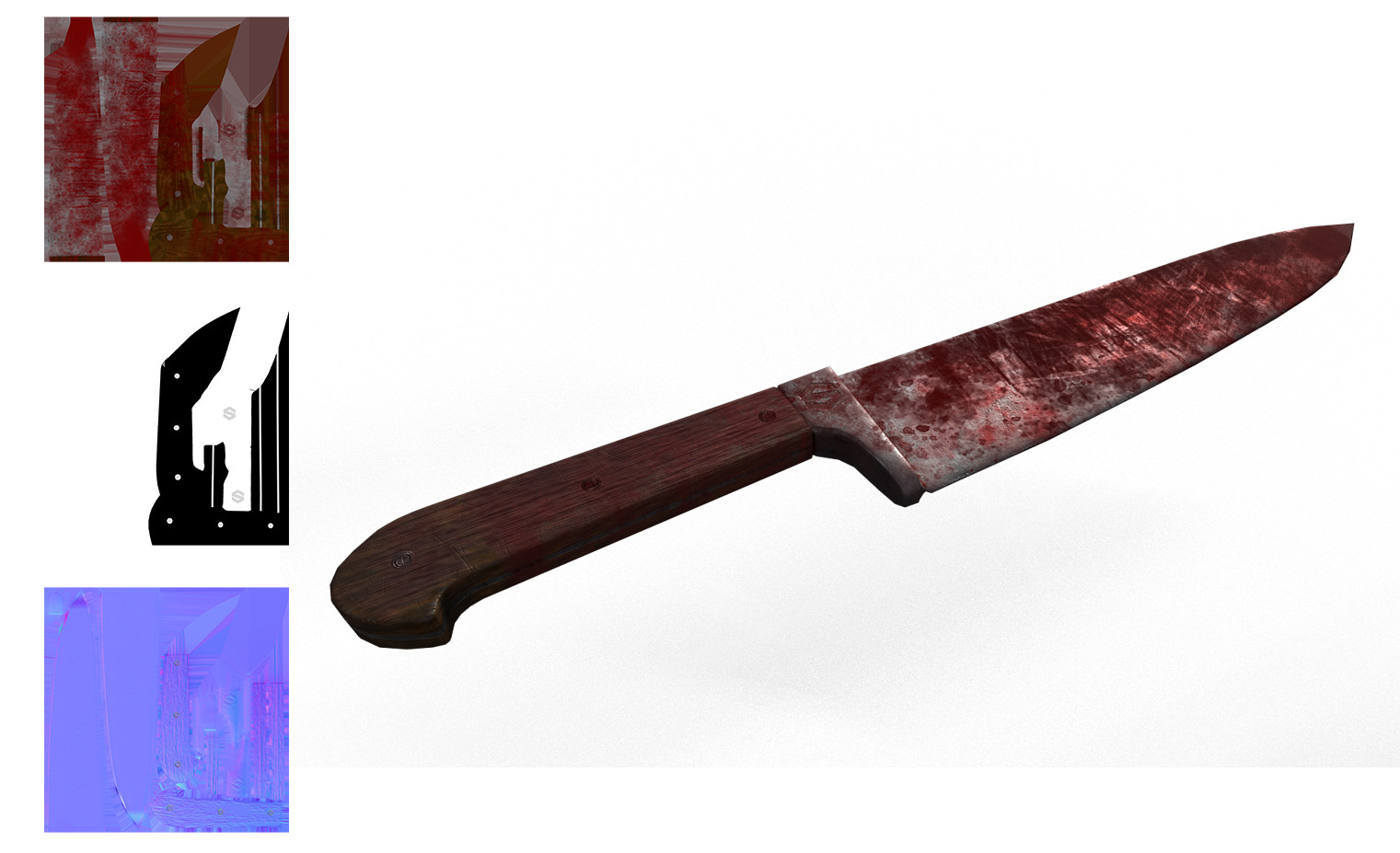 Blood soaked knife textured in Substance Painter with Unity texture maps.