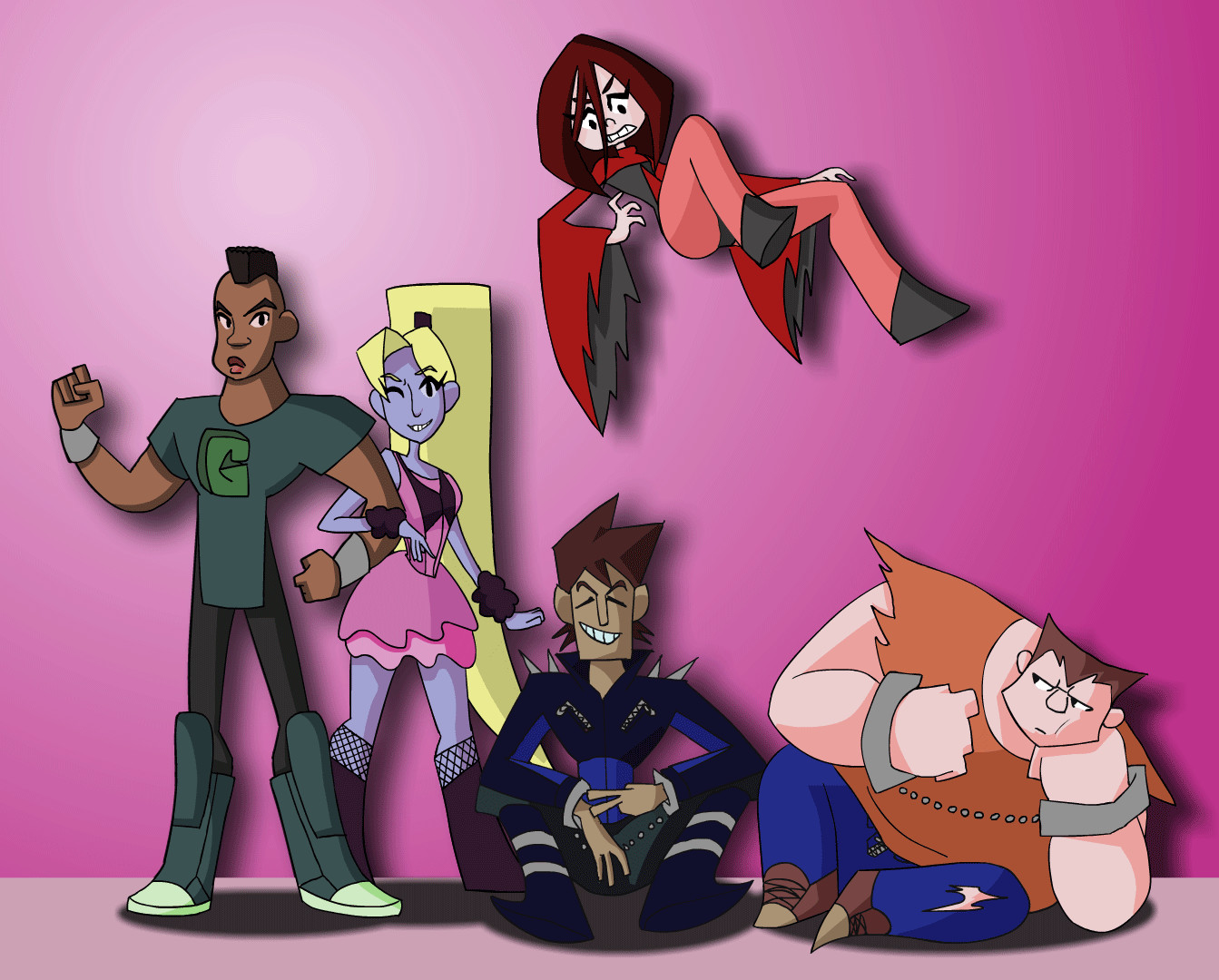 Group shot of 3 junior heroes and their streetwise adversaries. (Top)Levitator, (Left to right) Granite, Henrietta the Hair, Julio, and Hank.