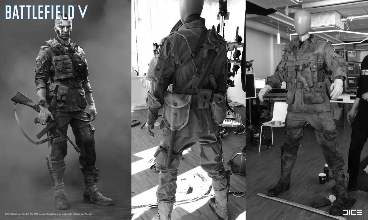 """Battlefield V"" - Allied Assault, MP Soldier - Concept Art to Real Costume example"