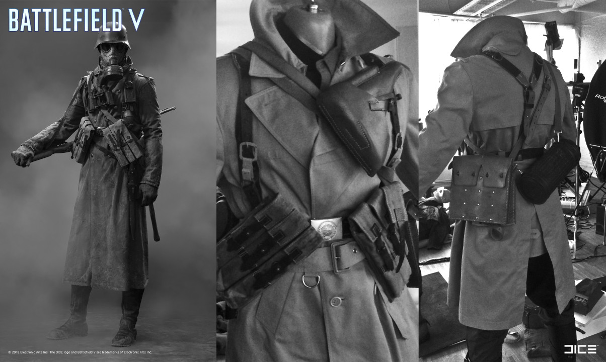 """Battlefield V"" - Axis Scout, MP Soldier - Concept Art to Real Costume example"