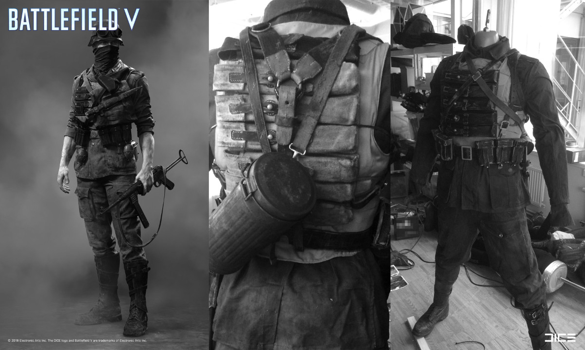 """Battlefield V"" - Axis Assault, MP Soldier - Concept Art to Real Costume example (with improvised ""samurai"" vest)"