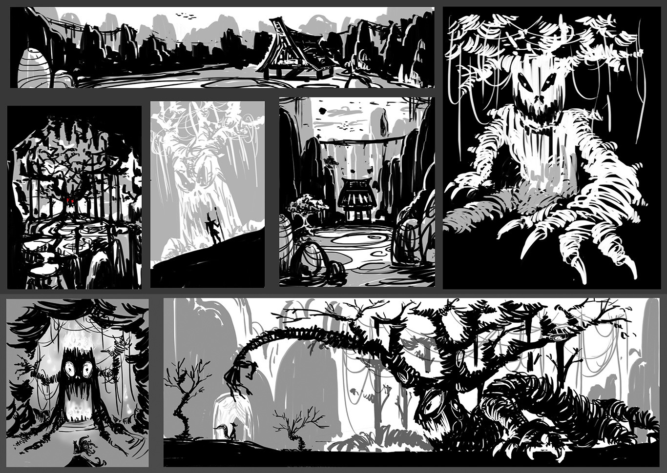 Initial sketches design of the overall background and the tree monster