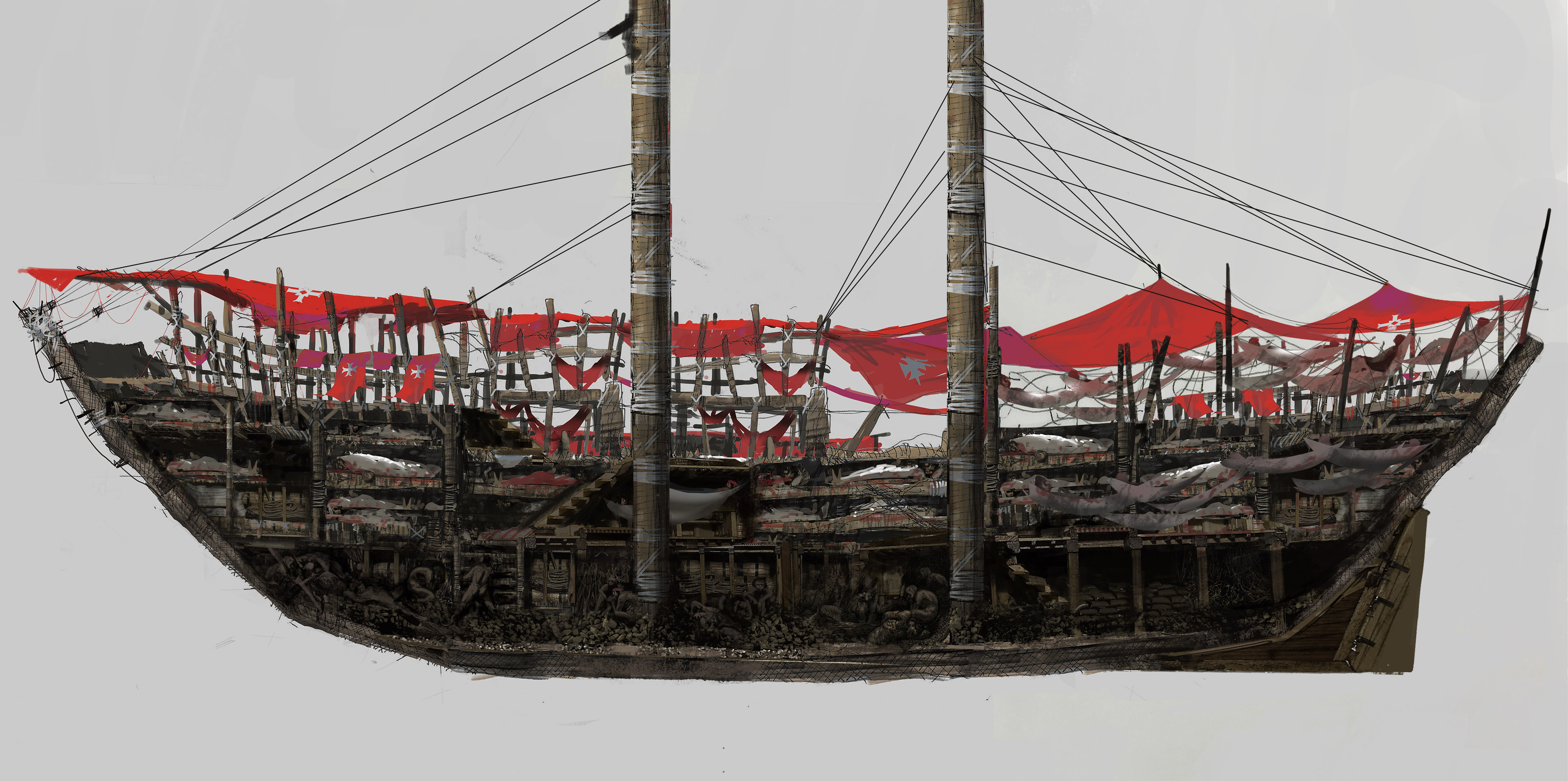This side view was an overpainting from Jean-Vincent line sketch, of the boat so the team can use the part they want to build the set.