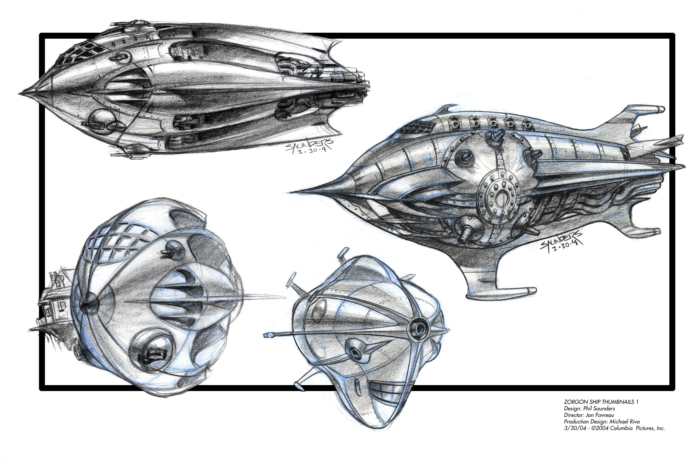 First page of Prismacolor sketches to develop the Zorgon Ship. Channeling a lot of Buck Rogers here!