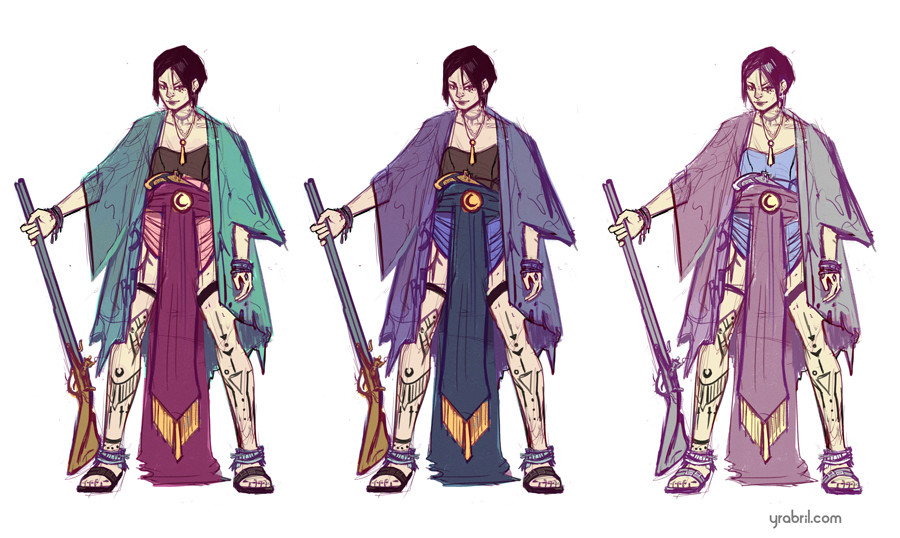 Character concept + Color variations.