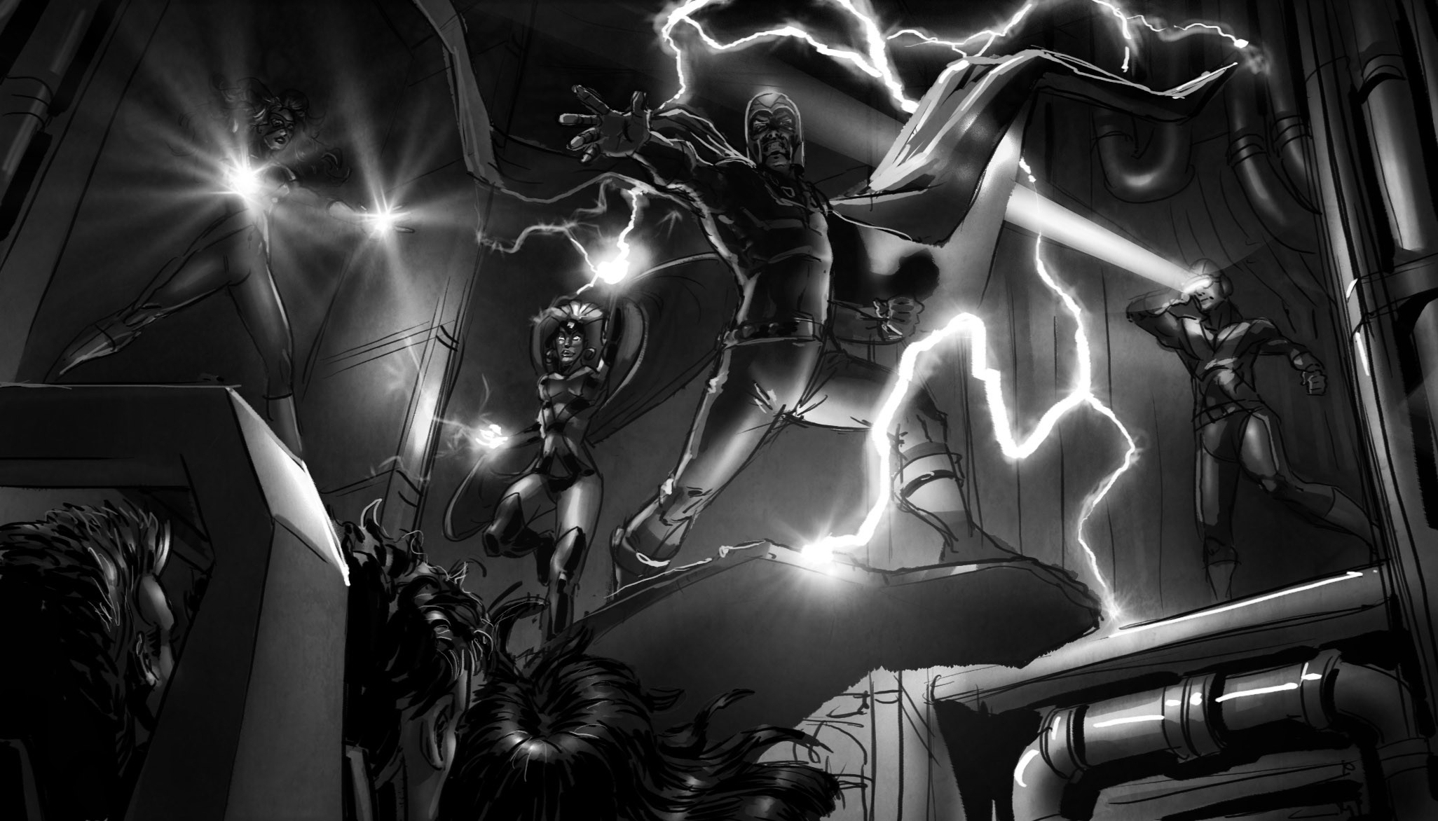 ...Magneto pulls us toward him with his magnetic power! We're almost in his grasp when Storm and Cyclops come to our defense with wind and lightning and focussed eye-beams. Dr. Xavier's telepathic voice urges us to focus our latent powers to assist--