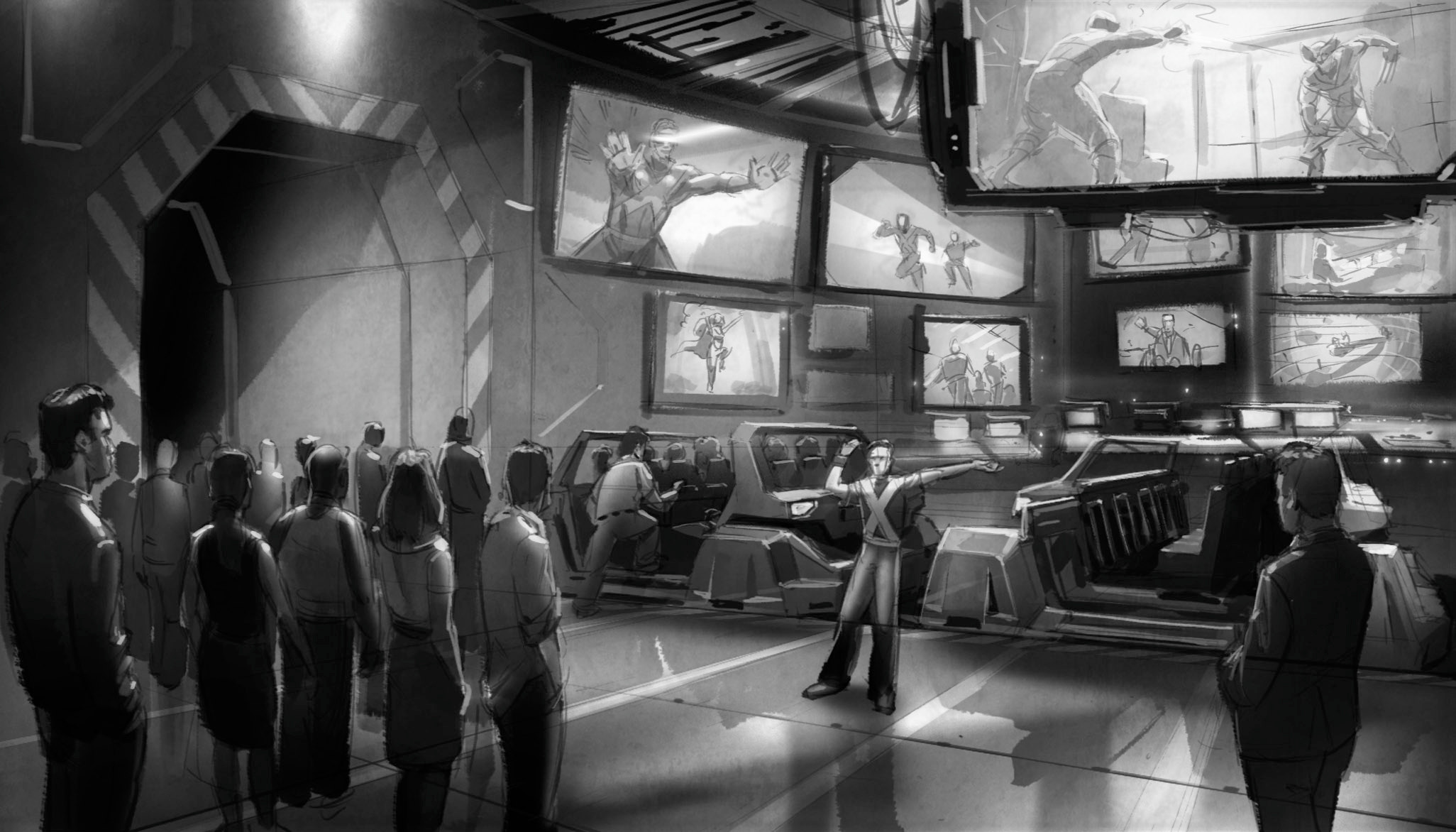 As alarms ring, we are evacuated to a security station where we are loaded onto security vehicles as monitors show the X-Men engaging with Magneto's mutant villains elsewhere in the mansion.