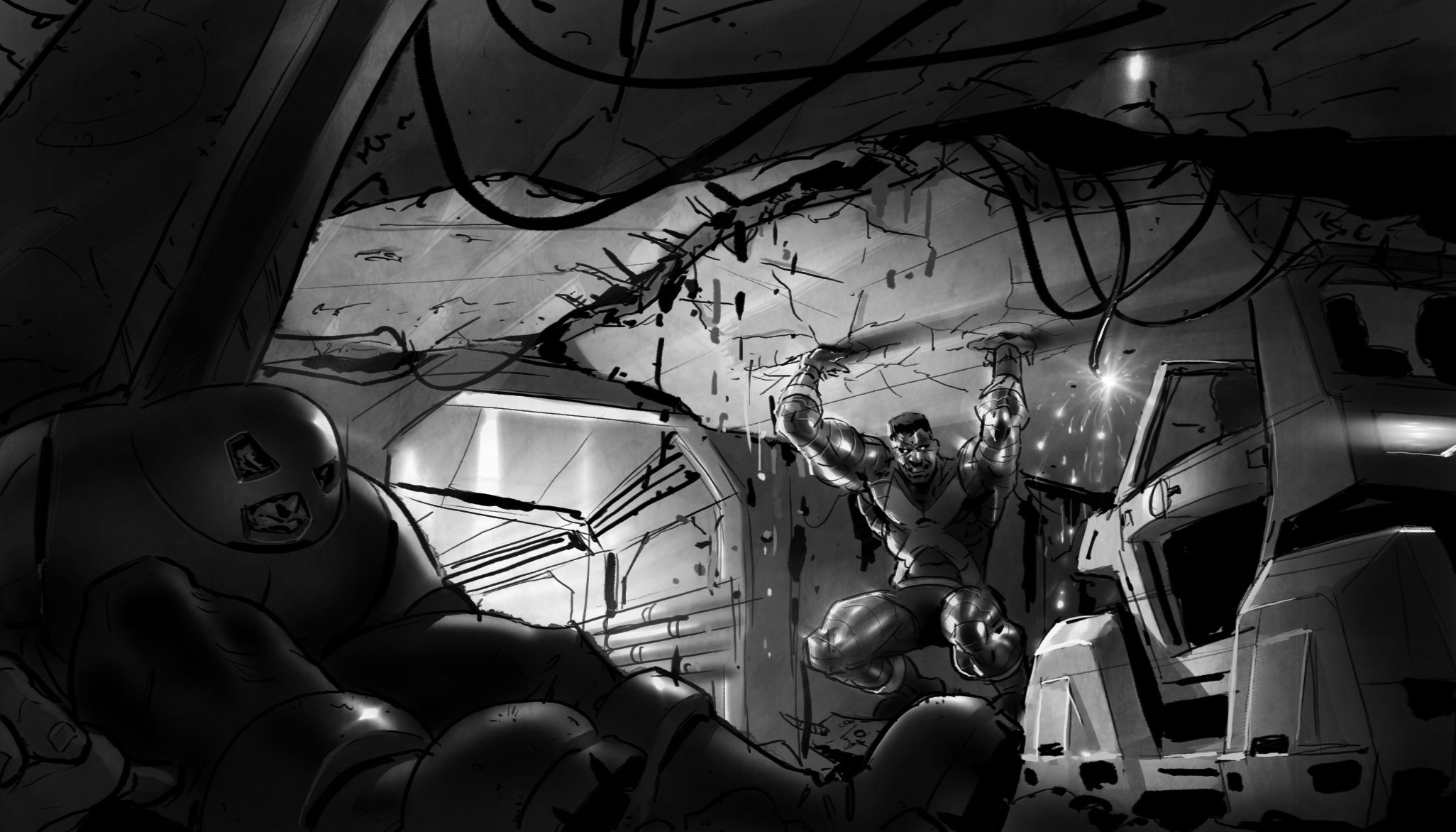 --we see where Jugs has knocked out a pillar. The ceiling is collapsing! Luckily Colossus holds it up long enough for us to squeeze out.
