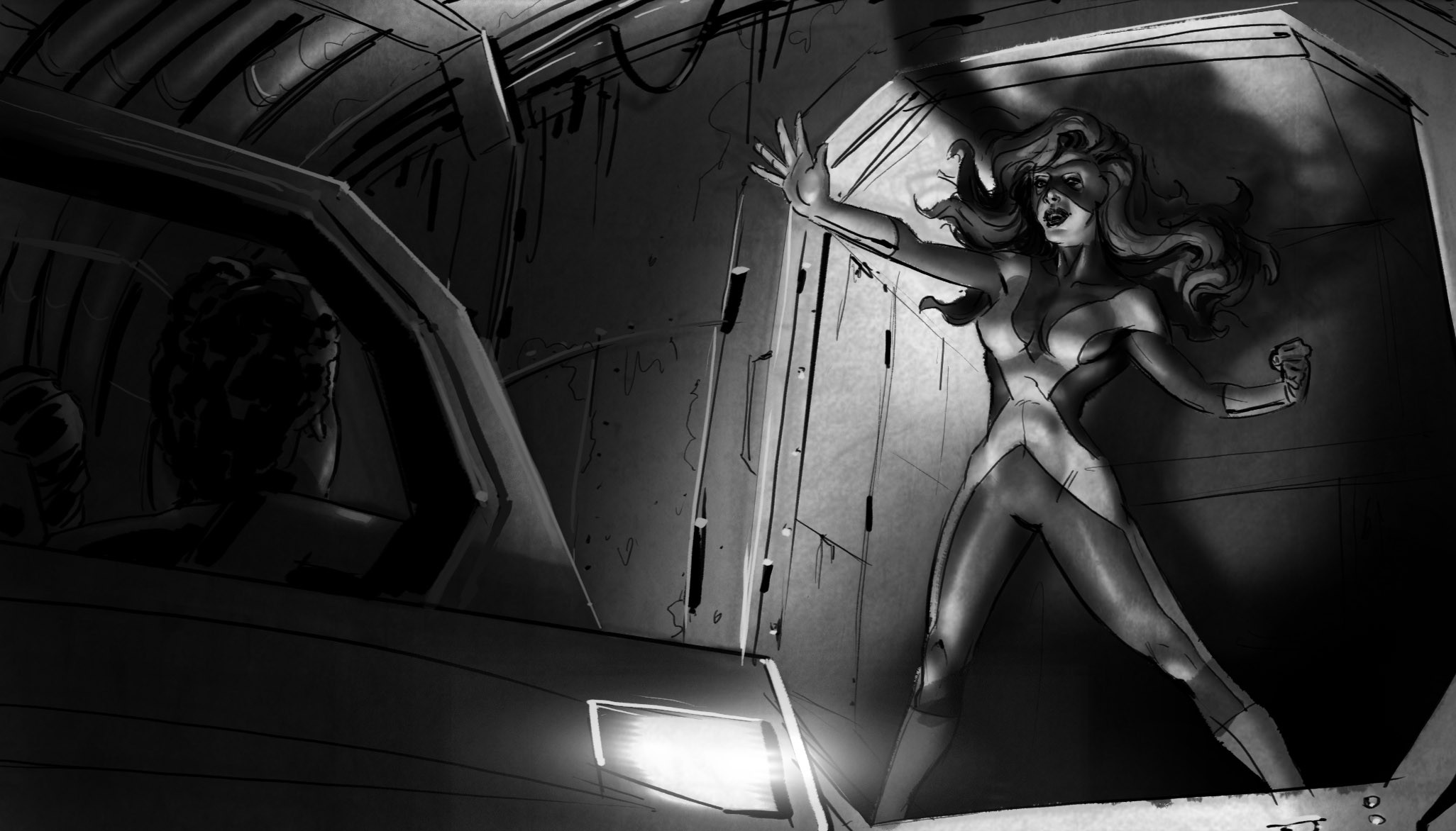 -- Phoenix appears, tearing a hole in the wall and steering us away from danger.