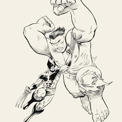 Anthony rivero epicencounters wolverine vs hulk lineart