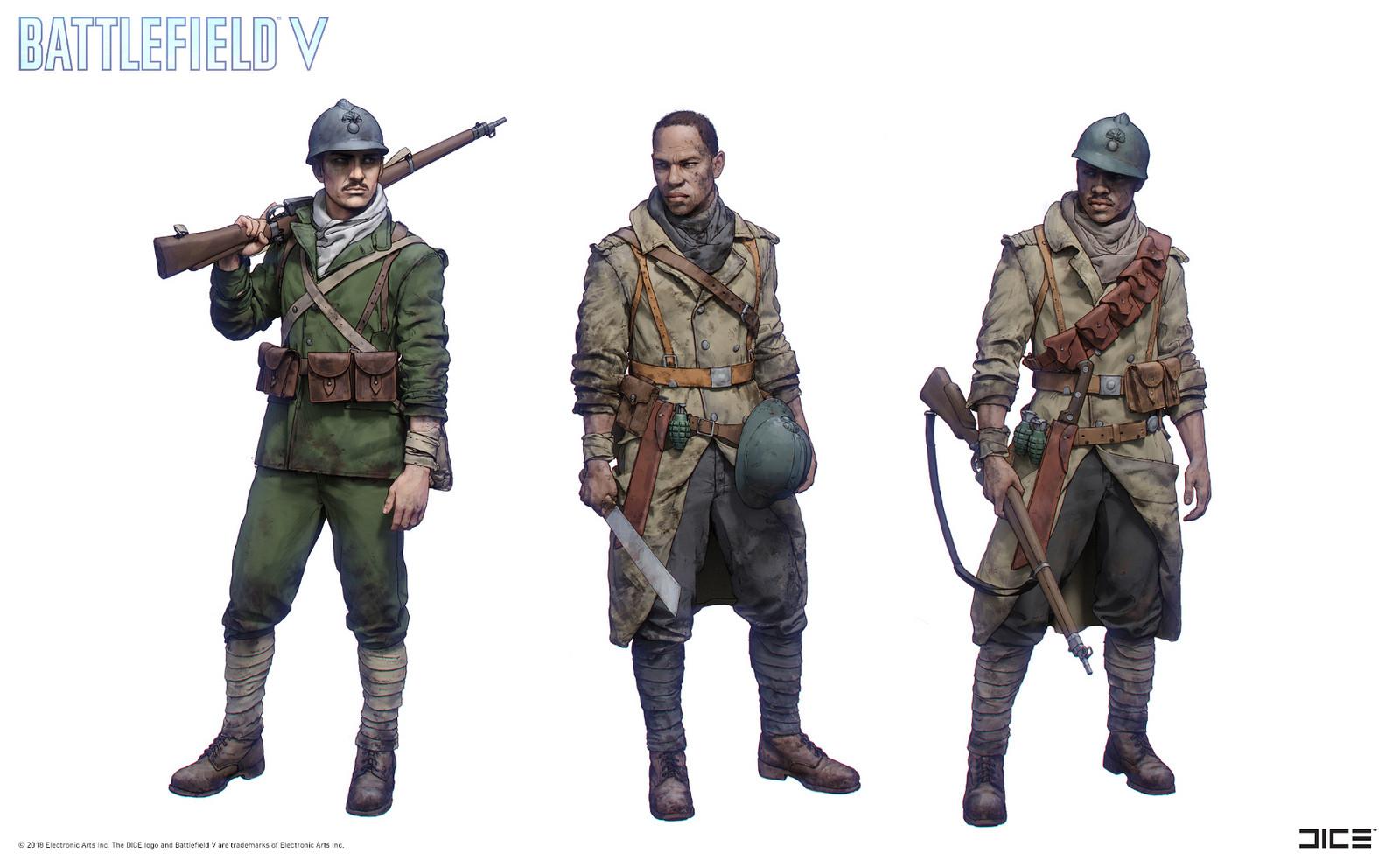 """""""Battlefield V"""" - Tirailleur, Soldiers - Character concept art"""