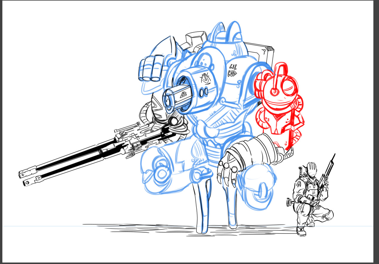 Rough line work - I often try and separate the important elements so that the inking process is smoother