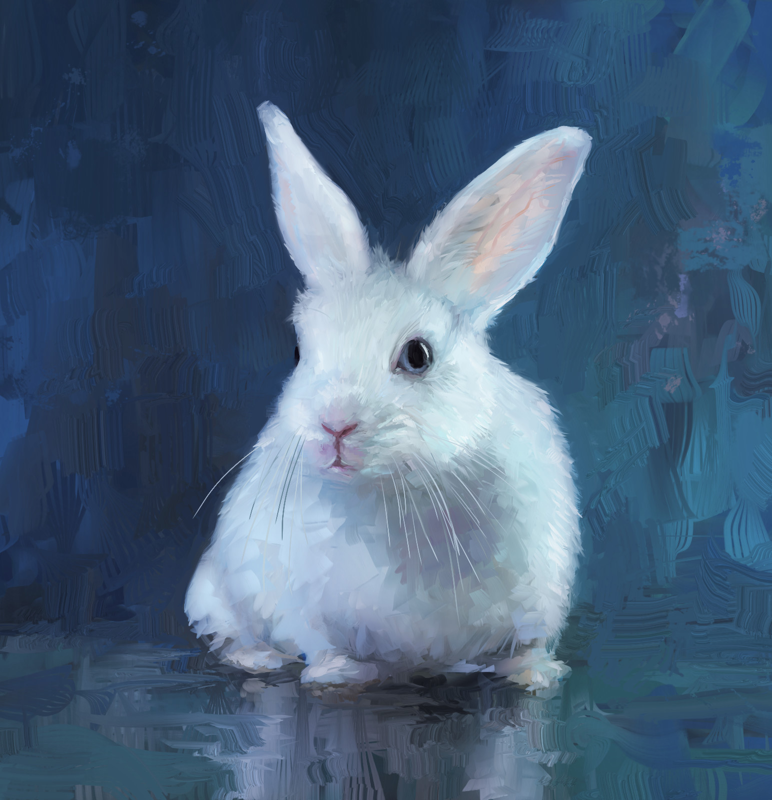 Bunny portrait painting